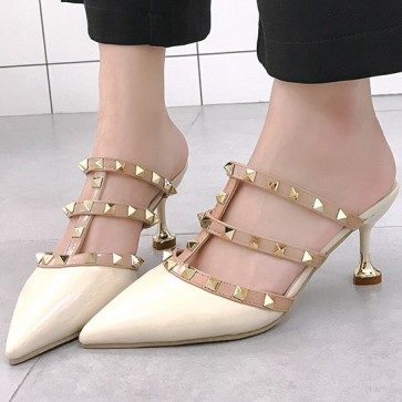 Patent Leather Pointed Toe Slide Sandals With Rivet For Prom