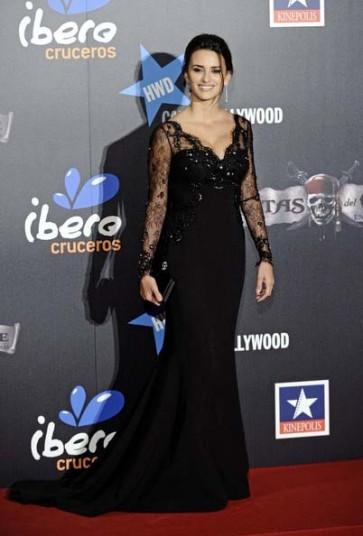Celebrity Dresses Penelope Cruz Black Lace V-Neck Prom Dress Formal Gown Red Carpet