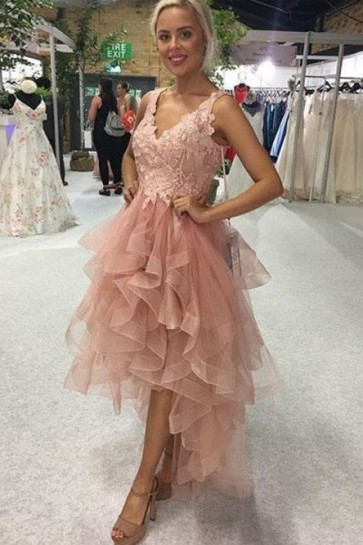 Pink Lace High Low Ruffled Cocktail Dress