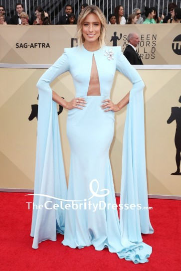 Renee Bargh Light Sky Blue Cut Out Evening Mermaid Dress With Long Sleeves 2018 SAG Awards Red Carpet