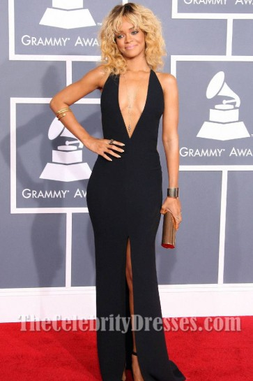 Rihanna Sexy Prom Gown Evening Dress 2012 Grammy Awards Red Carpet