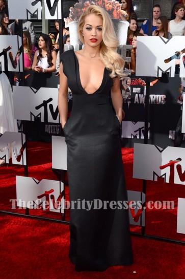 Rita Ora Black Deep V-neck Evening Prom Gown 2014 MTV Movie Awards