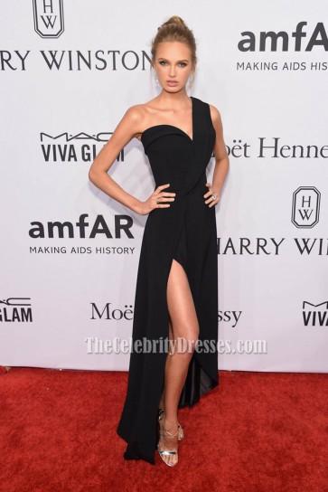 Romee Strijd Black One Shoulder Evening Dress 2016 amfAR New York Gala  1
