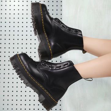 Round Toe Leather Platform Combat Boots