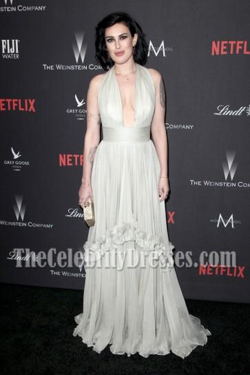 Rumer Willis Gray Halter Plunging Evening Prom Gown Weinstein Company Golden Globes Party 5