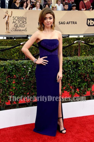 Sarah Hyland Dark Royal Blue Strapless Backless Evening Formal Dress 2016 SAG Awards