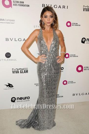 Sarah Hyland Silver Cross Back Deep V-neck Sequin Dress 2016 Elton John's Oscar party
