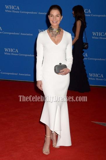 Sela Ward White Asymmetrical Formal Evening Dress 2016 White House Correspondents' Association Dinner  1