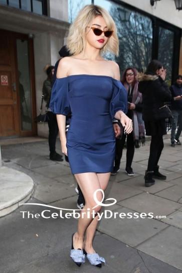 Selena Gomez Mini robe Off-the-Shoulder aux studios Kiss FM à Londres