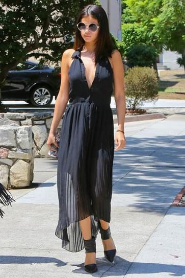 Selena Gomez Black Maxi Dress Buttoned Criss-cross Back Casual Dress