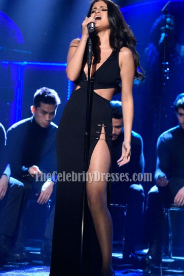 Selena Gomez Black Cutout High-slit Evening Dress Saturday Night Live Performance
