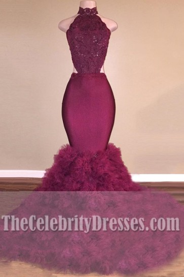 Sexy Burgundy Mermaid Ball Gown Long Backless Wedding Dress