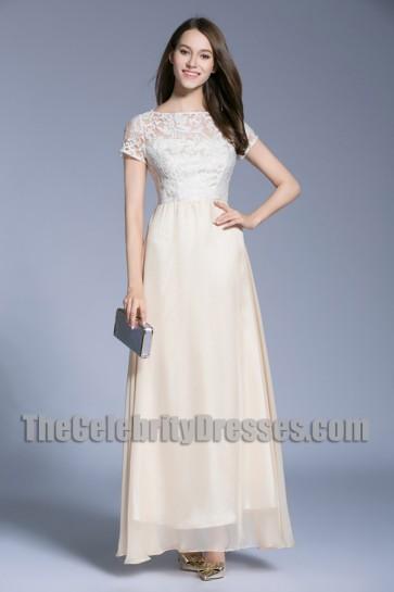 Short Sleeves A-line Formal Dress Long Lace Bridesmaid Dresses 2