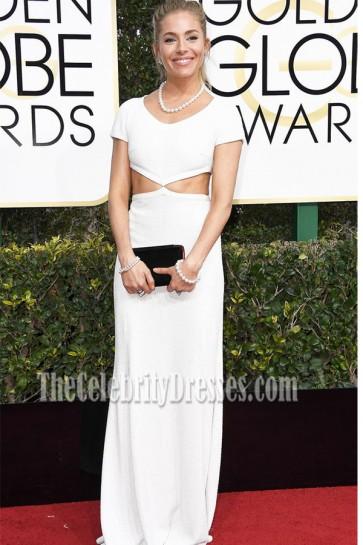 Sienna Miller Long Cutout Cap Sleeves Floor Length Evening Dress 74th Annual Golden Globe Awards