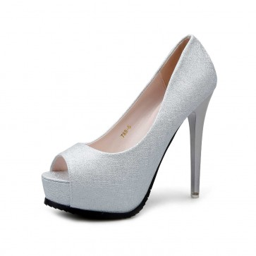 Silver Platform Peep Toe Fish Mouse Prom Shoes Stiletto Heels Wedding Shoes For Bride
