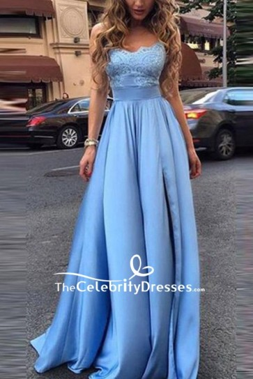 Sky Blue Strapless Ball Gown Bridesmaid Dresses For Sale