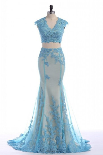 Sky Blue Two Pieces Mermaid Applique Prom Dress