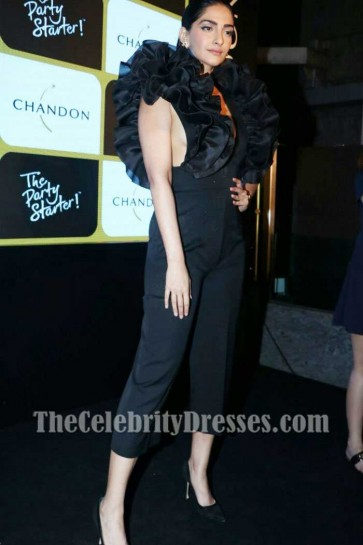 Sonam Kapoor Sexy Black Jumpsuit With Ruffles Launch of Chandon's The Party Starter 2017