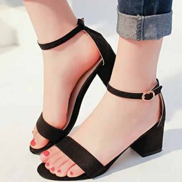 Suede Chunky Heel Sandals Flats Open-toe With Buckle