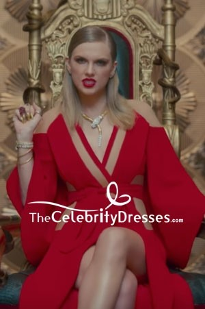Taylor Swift Red Cut Out Wrap Dress 'Look What You Made Me Do' Music Video