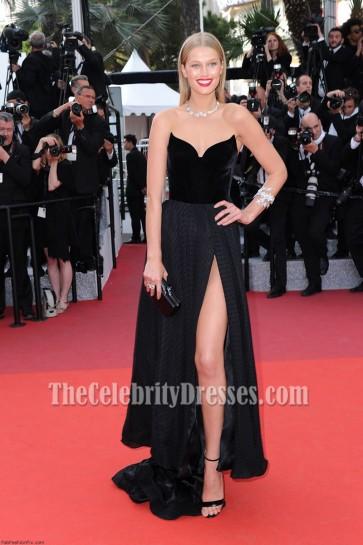 Toni Garrn Black Strapless Thigh-baring Slit  Formal Dress 69th annual Cannes Film Festival Red Carpet Dress 3