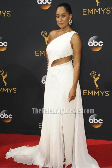Tracee Ellis Ross White One-shoulder Chiffon Evening Dress Emmys Red Carpet 2016 1