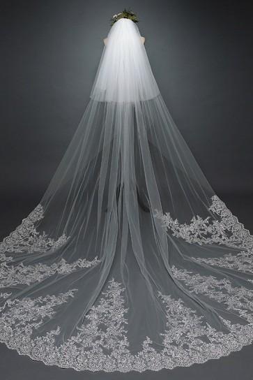 Two-tier Applique Sequins Chapel Bridal Veils