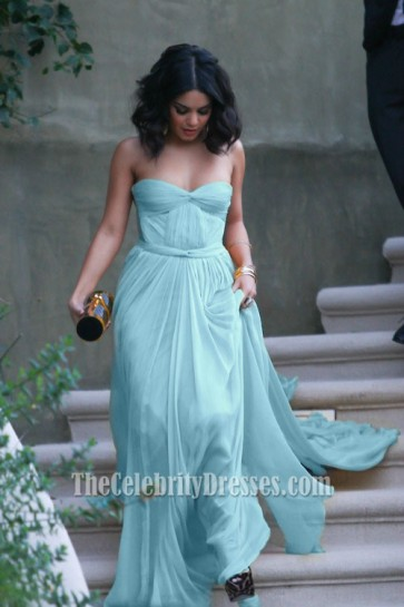 Vanessa Hudgens Sexy Blue Strapless Prom Dress Evening Gown