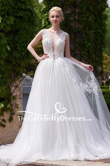 White Deep V-neck Wedding Dress With Appliques