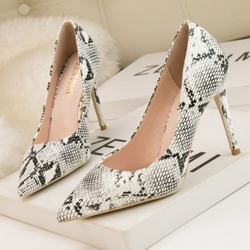 White Summer Simple Snake Stiletto Heels