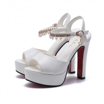 White Platform Ankle Strap Fish Head High Heel Diamond Shoes For Prom