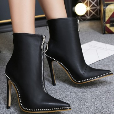 Women's Black Pointed Toe Stiletto Heels Ankle Boots Double Zipper