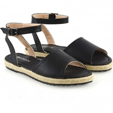Women's Fashion PU Peep Toe Flat Heel Ankle Strap Sandals