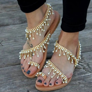 Women's Faux Leather Toe Ring Flat Heel Sandals With Imitation Pearl Chain Shoes