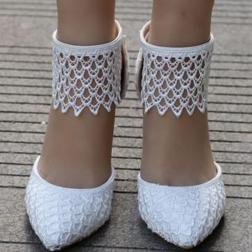 Women's Lace Stiletto Heels Wedding Shoes