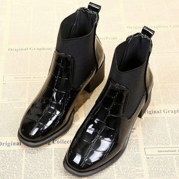 Women's Patent Leather Chunky Heels Ankle Boots