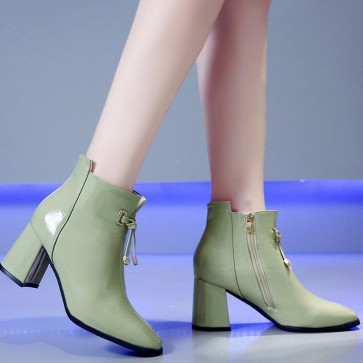 Women's Pointed Toe Chunky Heels Ankle Boots With Zipper