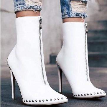 Women's Pointed Toe Stiletto Heels Boots Front Zipper