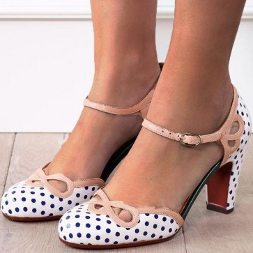 Women's Polka Dot Printed Chunky Heel Pump Shoes Cap-toe With Buckle