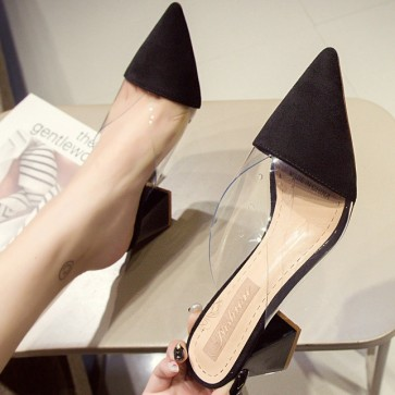 Women's PU Chunky Heel Closed-toe Pumps Sandals