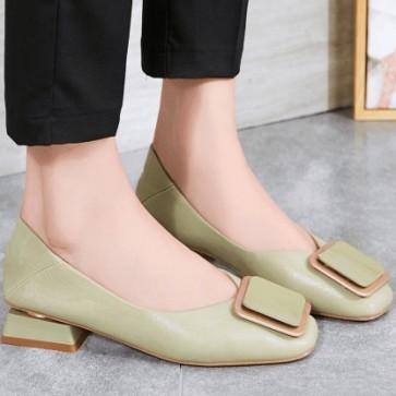Women's PU Chunky Heel Flats Closed Toe With Buckle Shoes