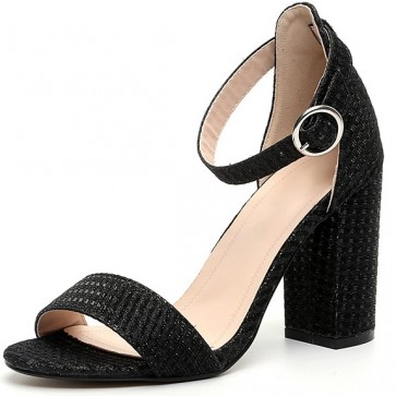 Women's Suede Chunky Heels Sandals Ankle With Buckle