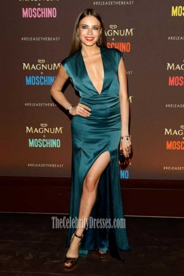 Xenia Tchoumitcheva Dark Green Deep V-neck High Slits Evening Dress 70th annual Cannes Film Festival
