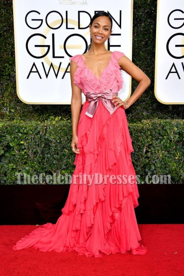 Zoe Saldana Deep V-neck Ruffle Evening Ball Gown Golden Globes 2017 Red Carpet Dress