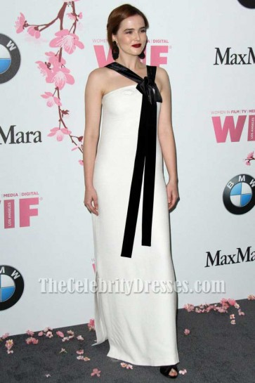 Zoey Deutch White Strapless Evening Dress 2017 Crystal + Lucy Awards