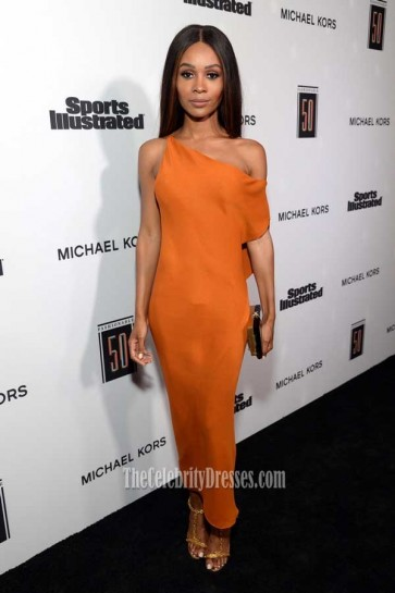 Zuri Hall Orange Off-the-shoulder Slip Dress 2017 Fashionable 50 celebration