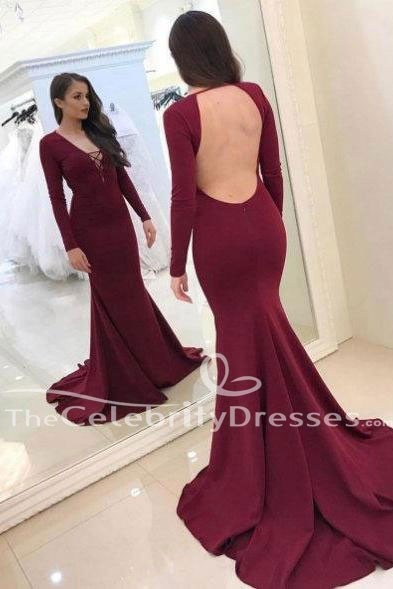 Sexy Long Sleeves Burgundy Mermaid Evening Prom Dress Military Gown