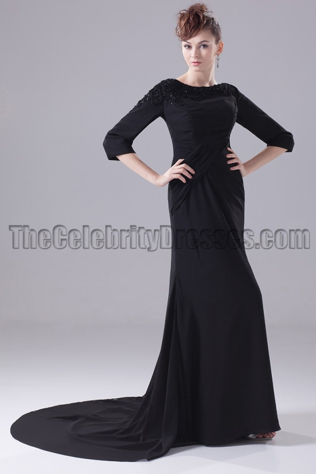 Long Black 34 Sleeve Formal Dress Evening Gown Thecelebritydresses