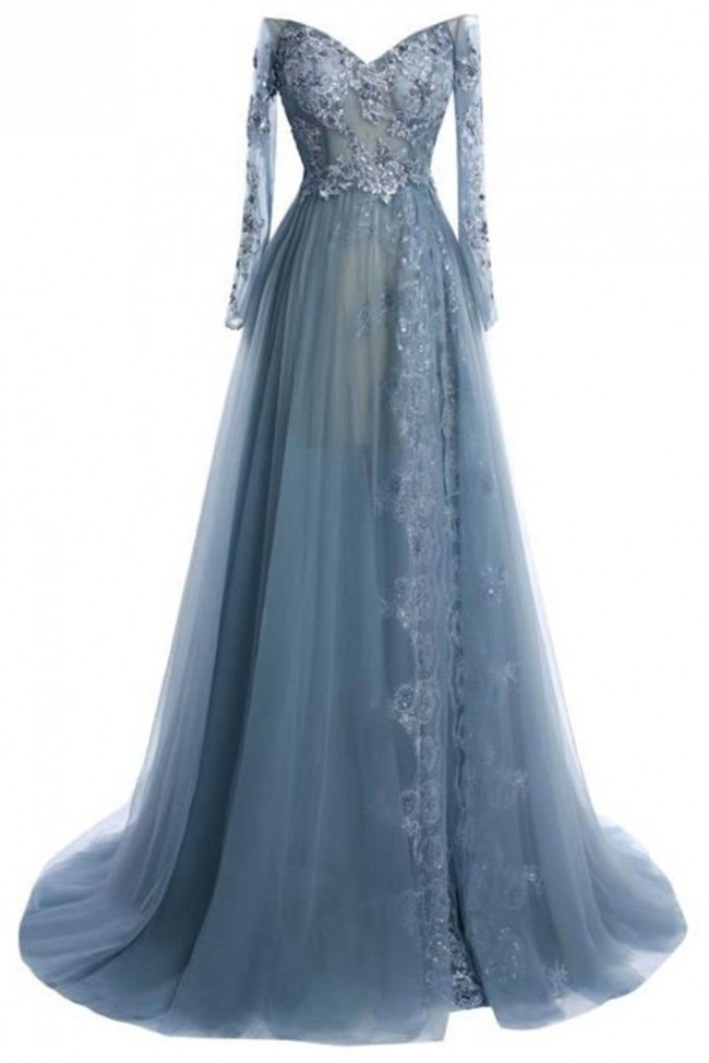 Gray Tulle Lace Long Sleeves Off Shoulder Formal Prom Gown Evening