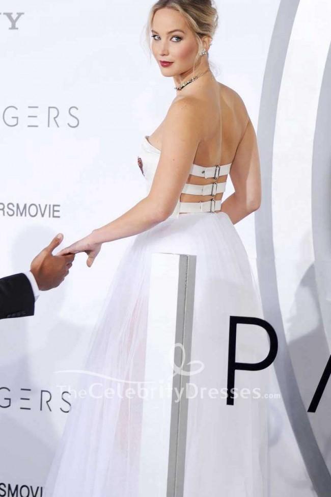 Jennifer Lawrence Robe Bustier En Tulle Blanc Et Ivoire